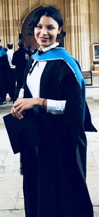 Fiona Tokple wearing a graduation gown